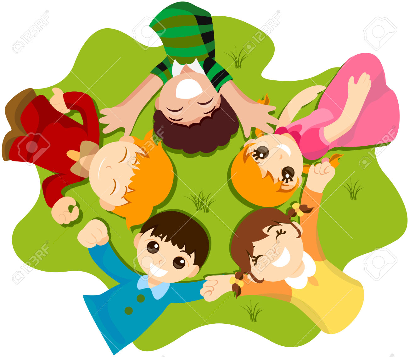 Kids on the grass clipart.