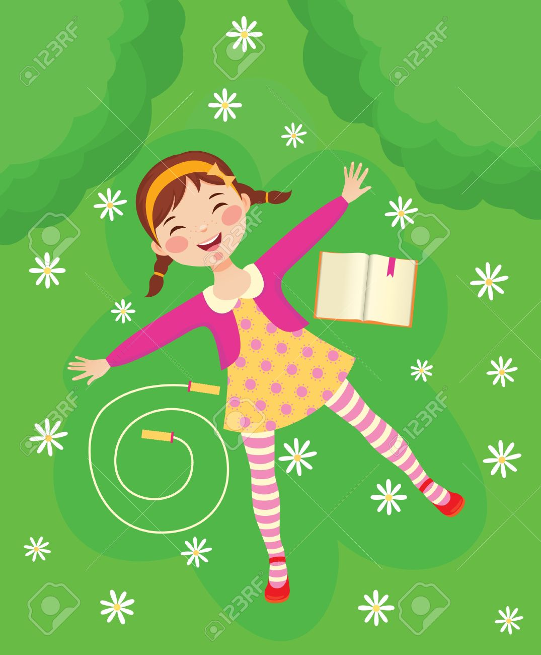 A little girl lay on the grass clipart.