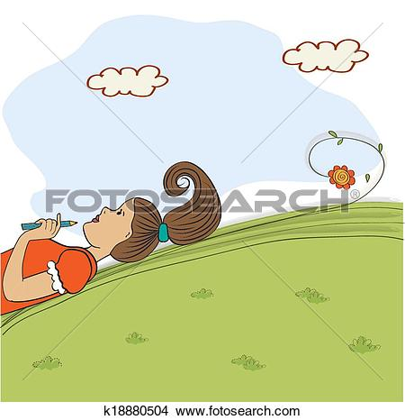 Clipart of bored young girl lying on grass k18880504.