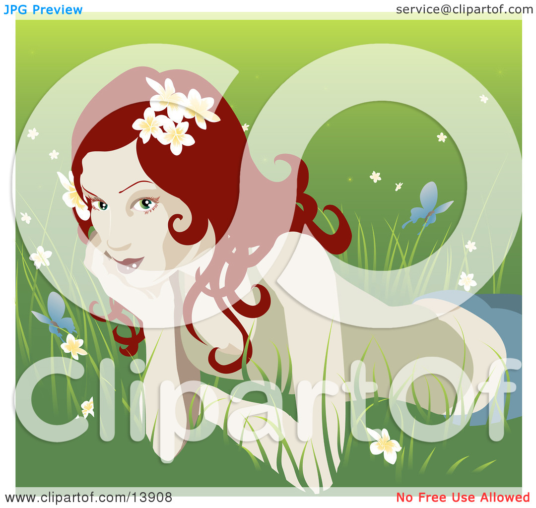 Pretty Organic Red Haired Woman Lying in the Grass Clipart.