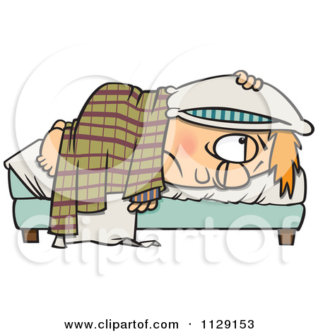 Cartoon Of A Tired Boy Lying In Bed With A Pillow Over His Head.