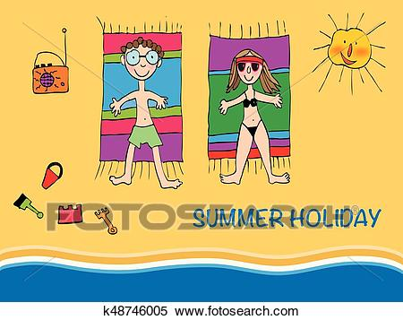 Vector Illustration Young Couple Lying on a Beach Clipart.