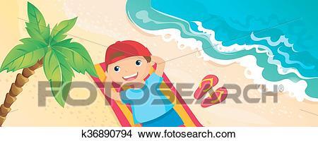 Boy Lying On The Beach Clipart.