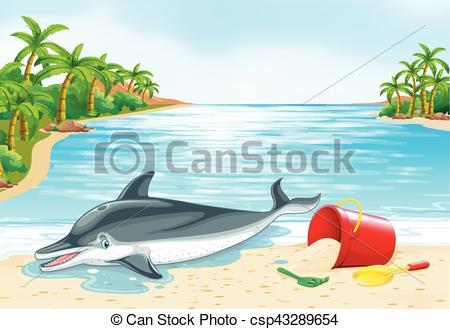 Dolphin lying on the beach.