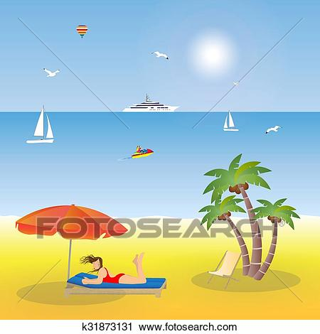 Young girl lying on the beach. Clipart.