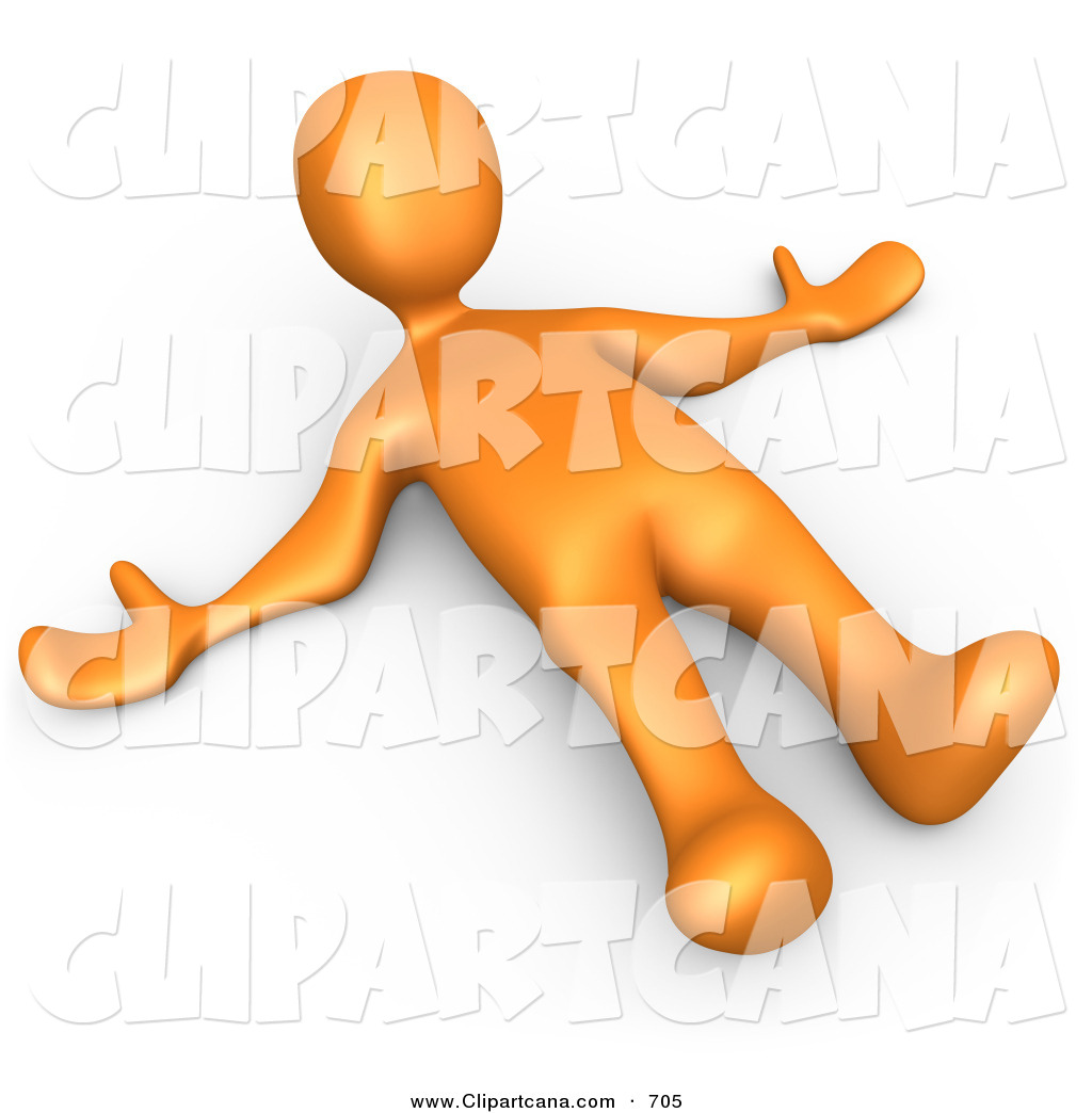 Clip Art of a Orange Man Lying on the Ground While Opposing.