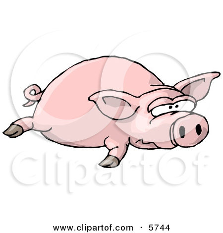 Big Fat Pig Laying On the Ground Clipart Illustration by Dennis.