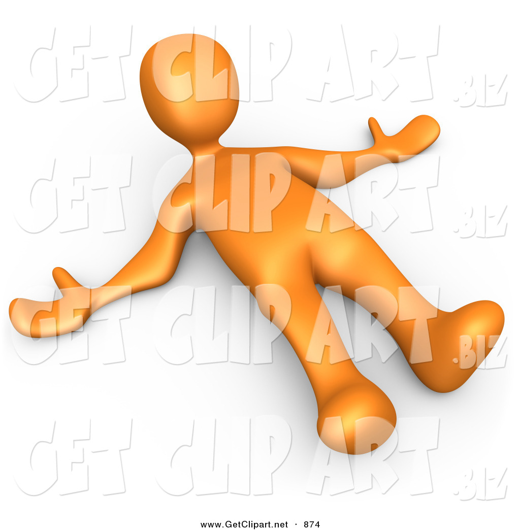 3d Clip Art of a Orange Person Lying on the Ground While Opposing.