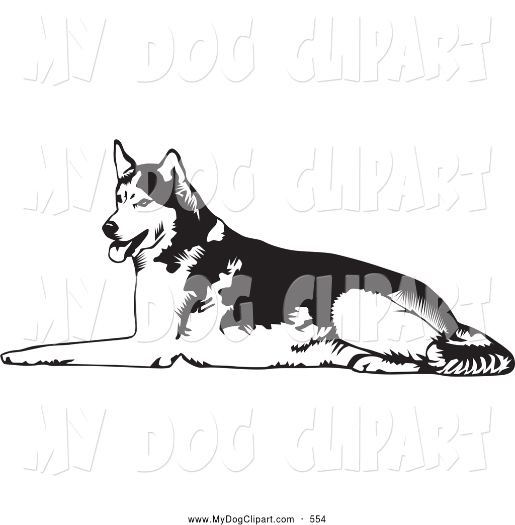 Clip Art of a Cute Tired Husky Dog Lying on the Ground and Panting.
