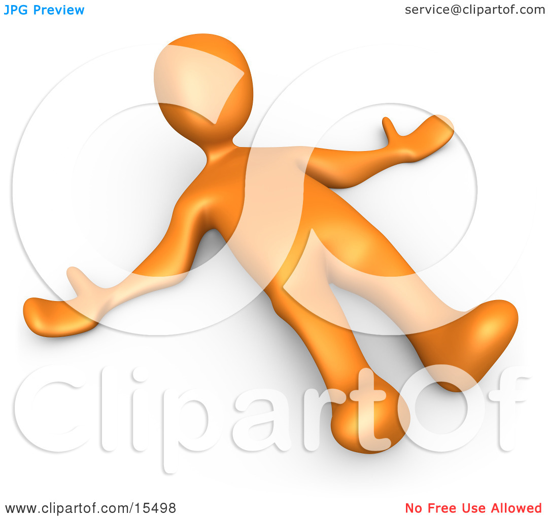 Orange Person Lying On The Ground While Opposing Something Clipart.