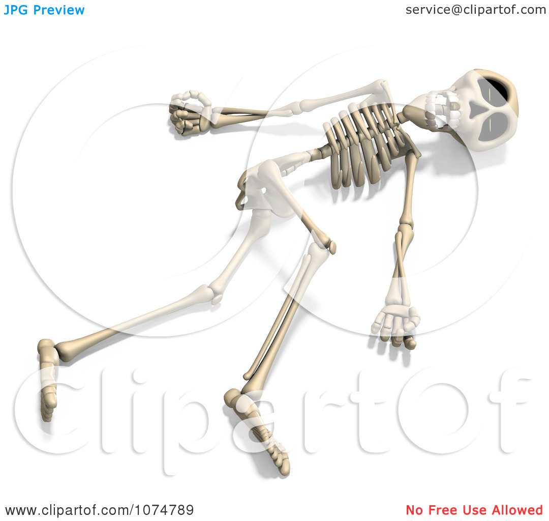 Clipart 3d Skeleton Lying On The Ground.