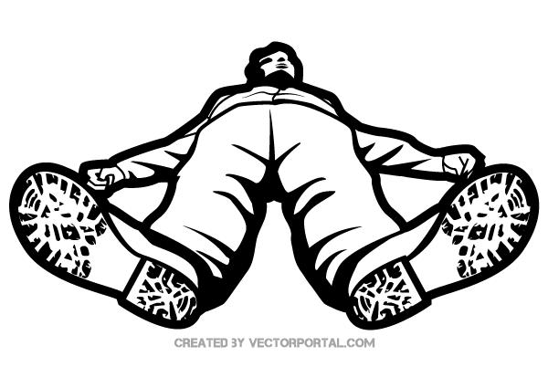 Man Lying on the Floor, Vector Image.