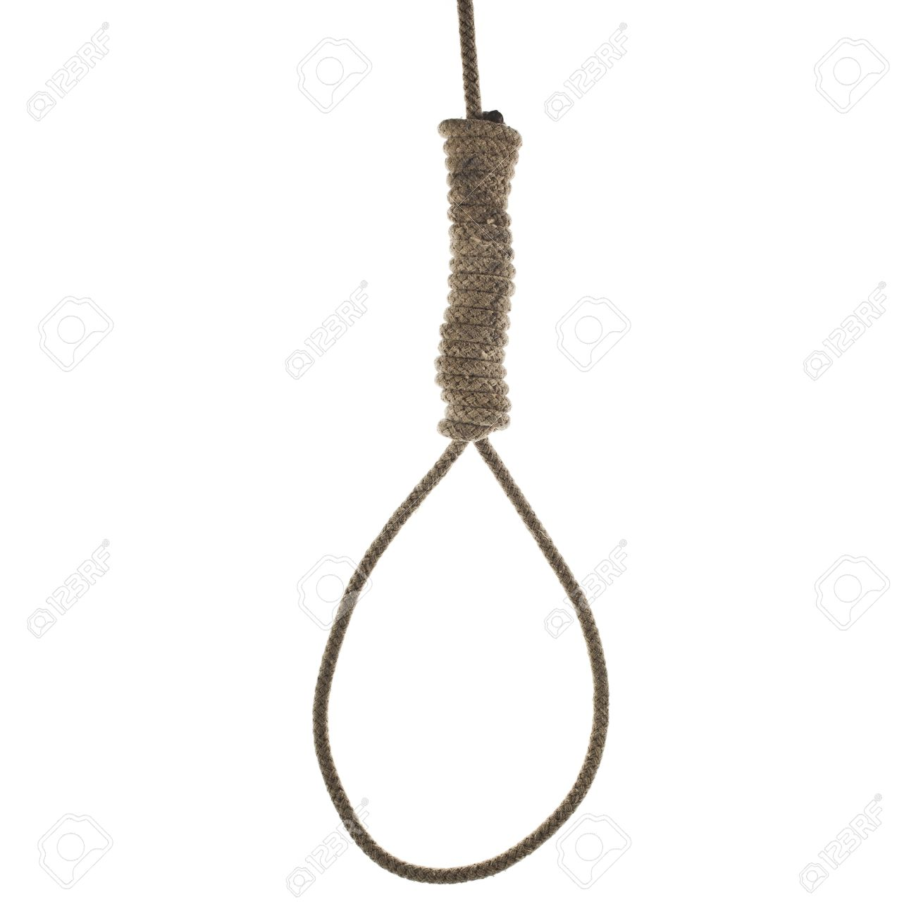 Hanging Noose Of Rope Isolated On White Background Stock Photo.