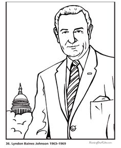 Free printable President Richard M. Nixon facts and coloring.