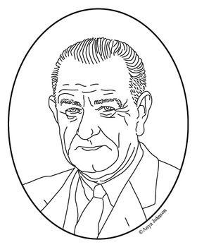 Lyndon B. Johnson (36th President) Clip Art, Coloring Page or Mini.