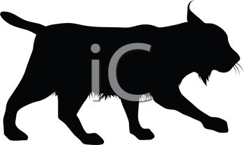 Picture of a Silhouette of a Lynx Walking In a Vector Clip Art.