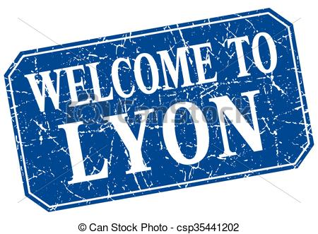 Vector Clipart of welcome to Lyon blue square grunge stamp.