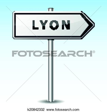 Clipart of Vector lyon directional sign k20842332.