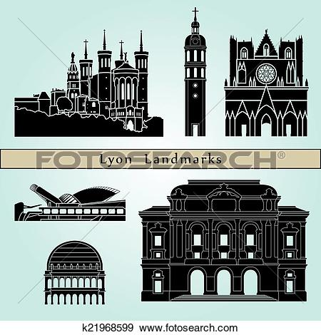 Clip Art of Lyon landmarks and monuments k21968599.