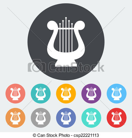 Vector Clip Art of Lyra flat icon.