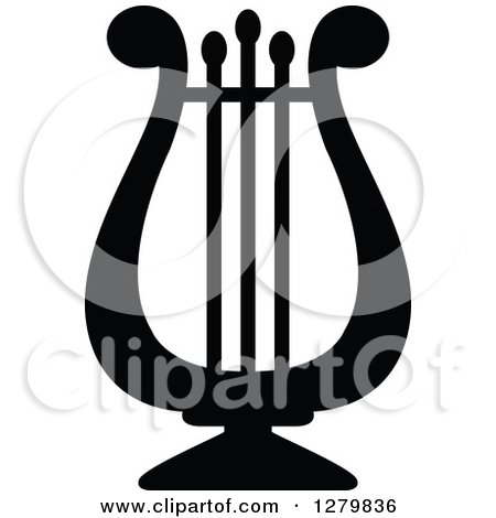 Clipart of a Cartoon Lyre Instrument.