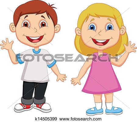 Clipart of Cute dolphin couple cartoon k14575013.
