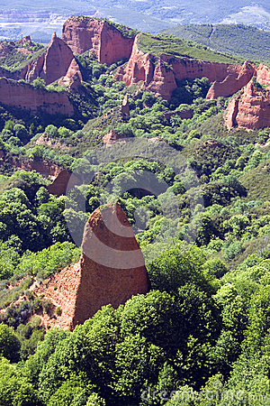 Las Medulas, Ancient Roman Mines In Leon, Spain. Stock Photo.