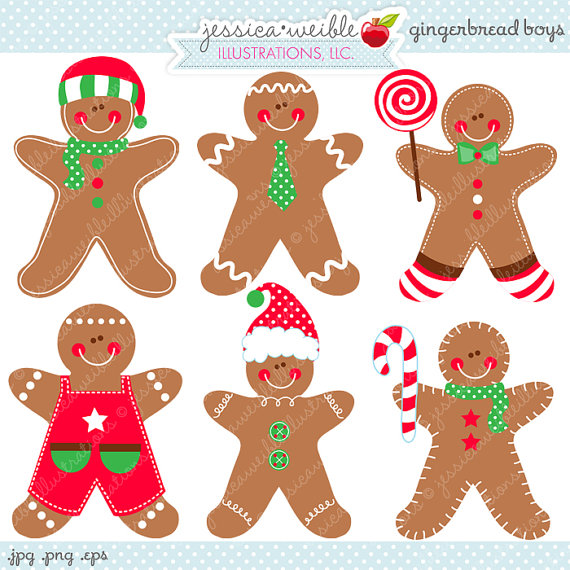 Gingerbread Boys Cute Digital Clipart.