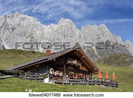 "Stock Photograph of ""Mountain hut with Hochkonig, Muhlbach."