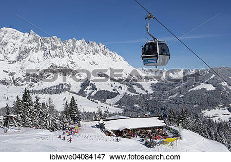 Picture of Karbachalm ropeway in front of mountain scenery.