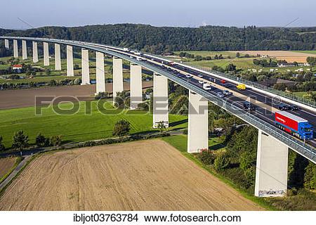 "Stock Photo of ""Ruhrtalbruecke, bridge of the A52 motorway."