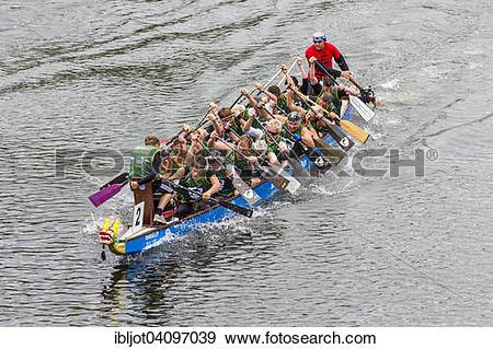Stock Photograph of Dragon boat regatta, Mulheim an der Ruhr.