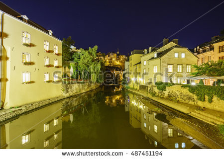 Luxembourg Night Stock Photos, Royalty.