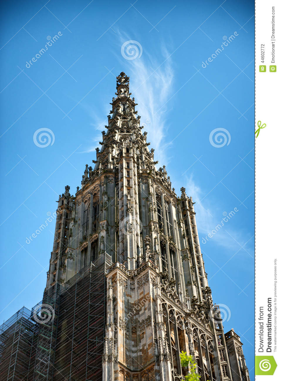Ulmer Munster (Minster) Tower In Ulm, Germany Stock Photo.