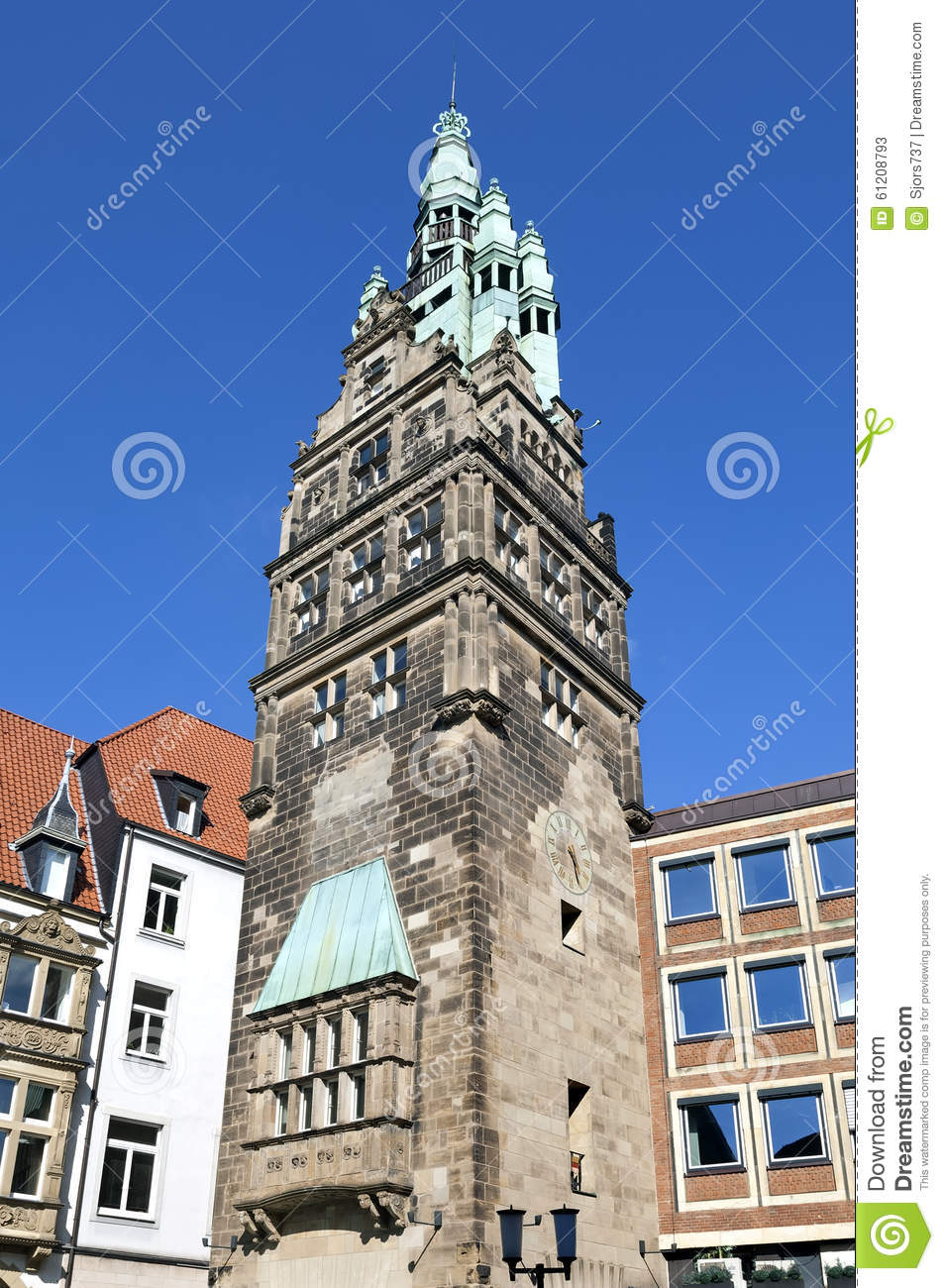 Ancient City Hall Tower, Munster, Germany Stock Photo.
