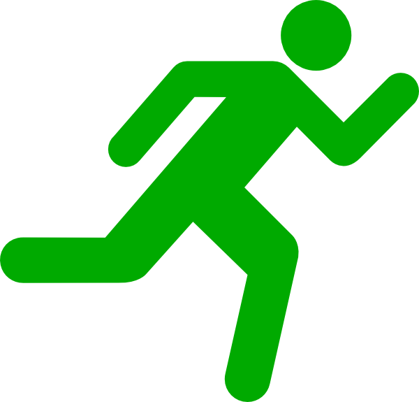 Green Running Icon On Transparent Background Clip Art at Clker.com.