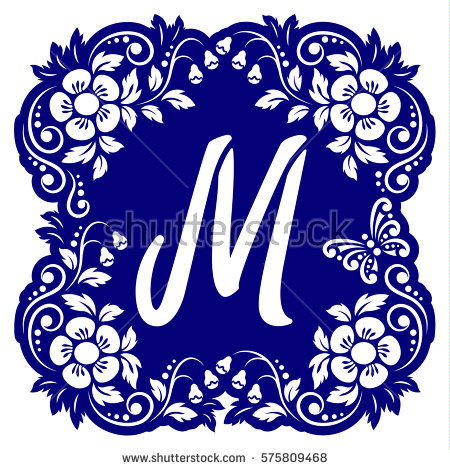 Vector Dotted Flower Font Letter Stock Photos, Royalty.