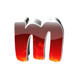 Red Small M Icon, PNG ClipArt Image.