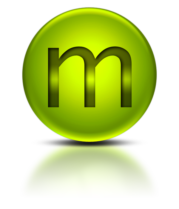 Metalic green letter m icon png #10567.