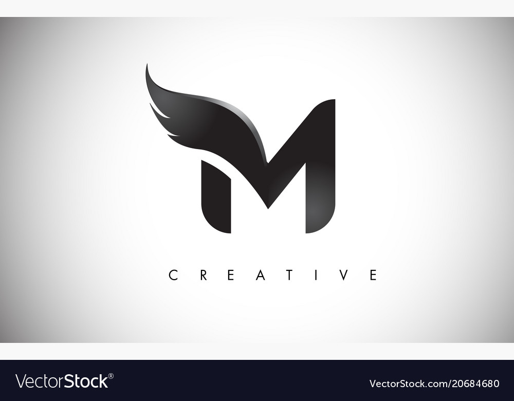 M letter wings logo design with black bird fly.