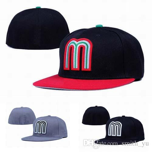 Fashion Letter M Cap Men Fitted Hats Mexico Flat Brim Embroiered Brand  Designer Sports Team Fans Baseball Caps Full Closed Chapeu.