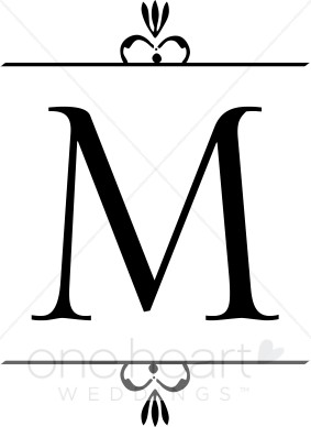 Wedding Monogram M Clipart.