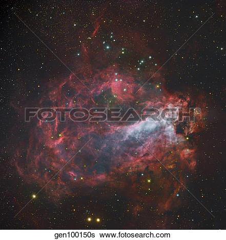 Stock Images of M17, The Omega Nebula in Sagittarius. gen100150s.
