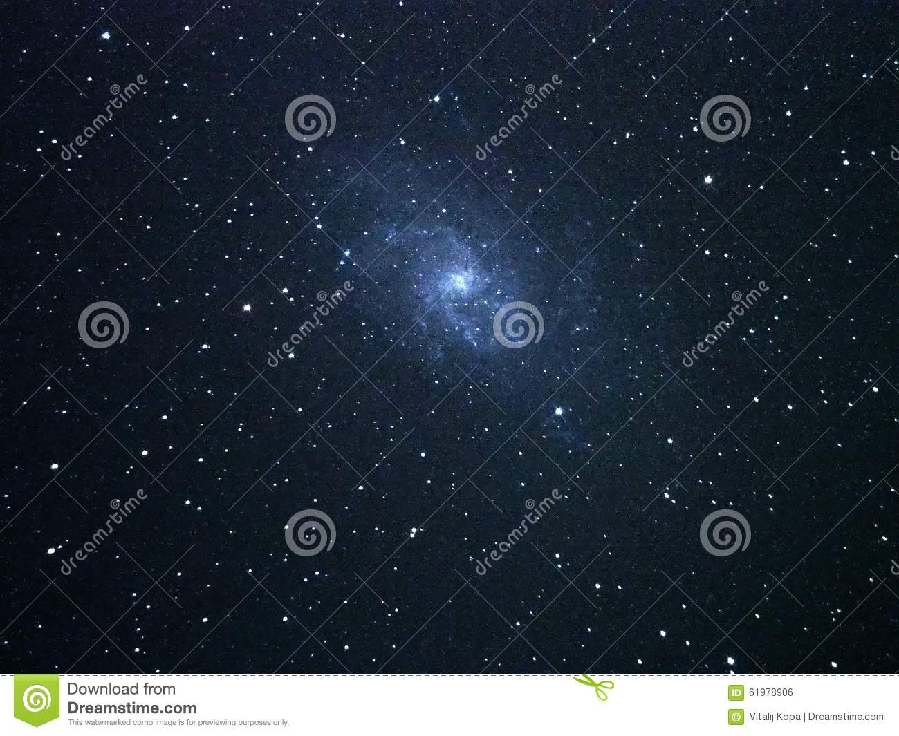 Universe Stars And Spiral Galaxy M33 Over Telescope Stock Photo.