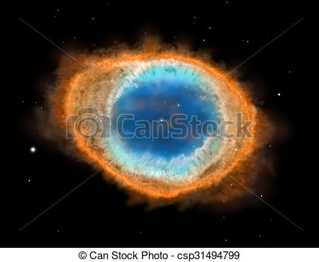 Stock Illustration of Galaxy : Ring Nebula M57, illustration.