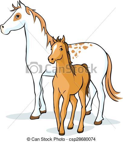 Vectors Illustration of horses.