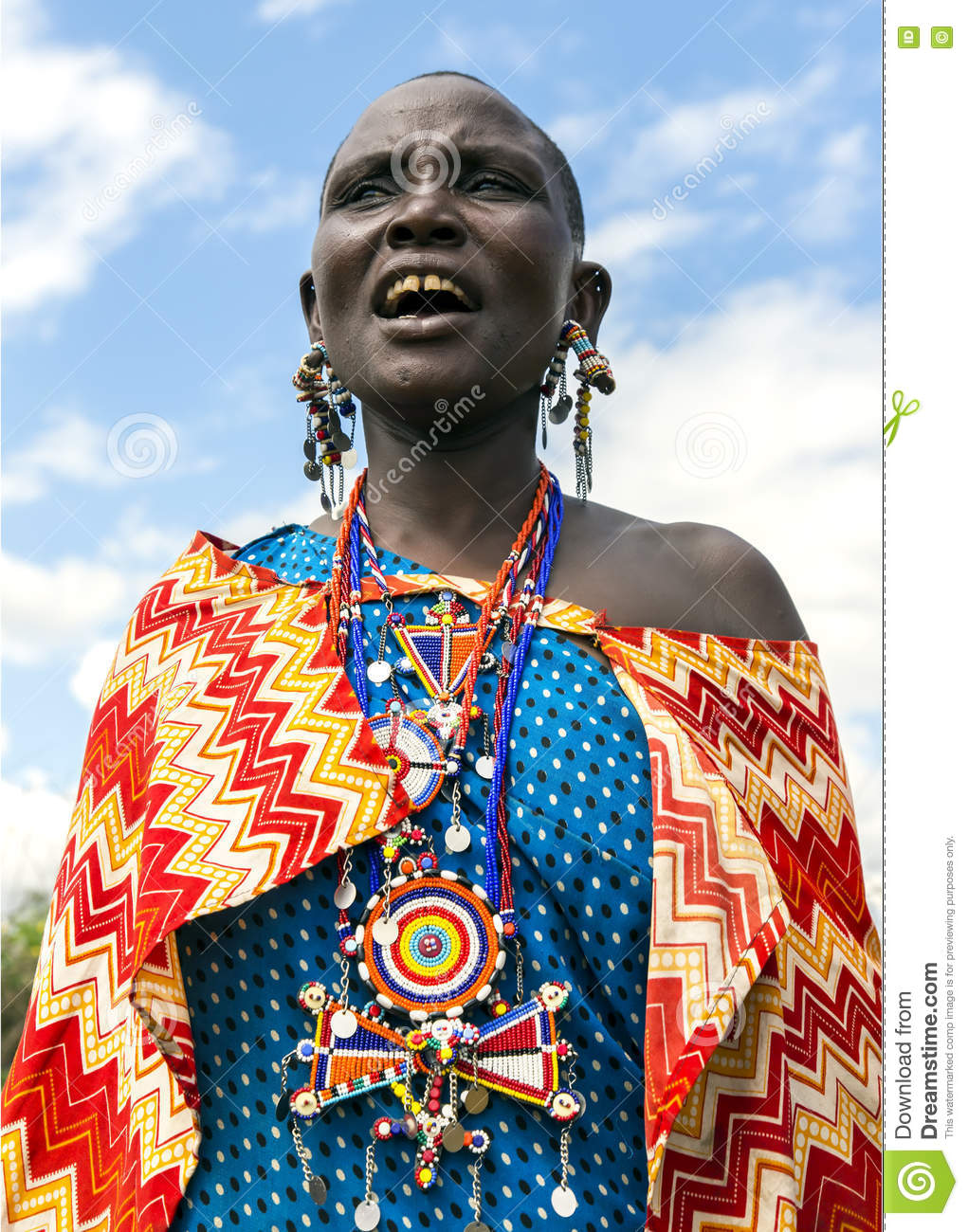 Maasai Tribe Woman With Traditional Piercings And Beadwork.