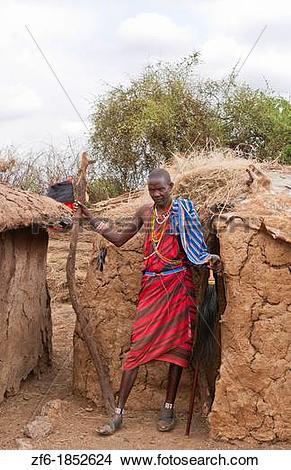 Stock Photo of Kenya Africa Amboseli Maasai tribe village Masai.