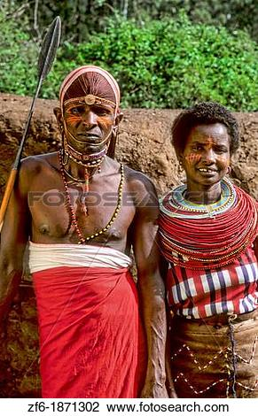 Stock Photo of Maasai tribe people couple in costume traditional.