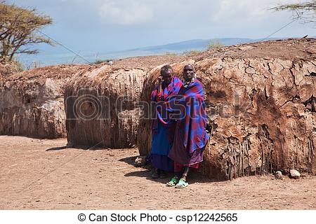 Stock Image of Maasai people in their village in Tanzania, Africa.